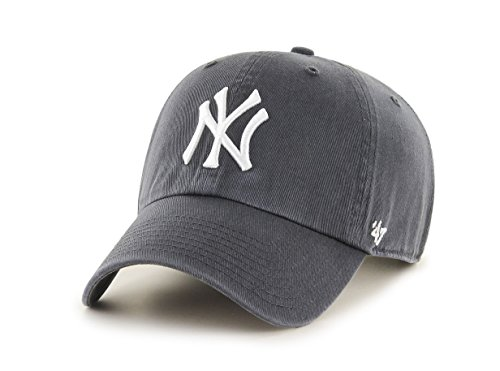47 Brand Erwachsene Mlb New York Yankees Clean Up Kappe, Charcoal, OSFA Washed Cotton Twill Cap