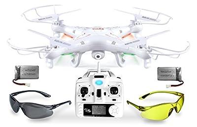 Syma X5C Explorer UPGRADE Weiße SafeFly Sonder-Edition 3D Quadrocopter Drohne mit 3.6 MP HD Kamera mit Ton, Zusatz-Power-Akku, ABHEBEN/LANDEN automatisch, 6AXIS Stabilization System, 4GB Micro-SD von AGETECH GmbH