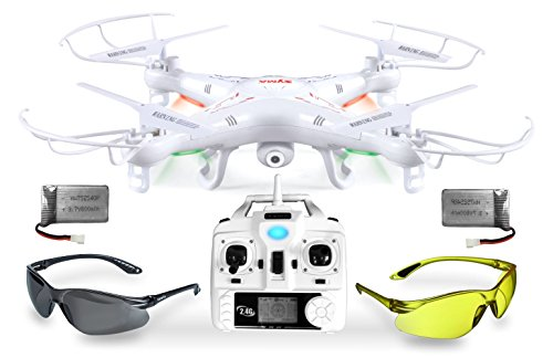 Syma X5C Explorer UPGRADE Weiße SafeFly Sonder-Edition 3D Quadrocopter Drohne mit 3.6 MP HD Kamera mit Ton, Zusatz-Power-Akku, ABHEBEN/LANDEN automatisch, 6AXIS Stabilization System, 4GB Micro-SD