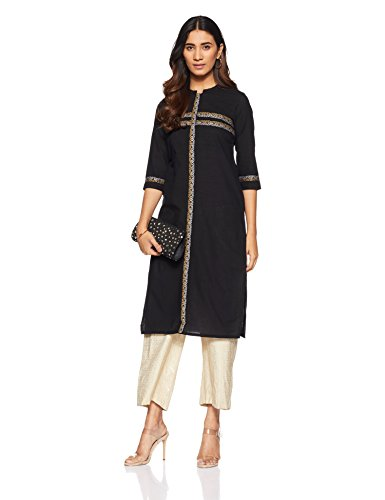 Aurelia Women's Straight Kurta (17AUK13174-78978_BLACK_M)