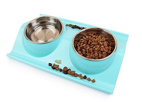 Edelstahl Fressnapf mit Auslaufsicher und abnehmbarer, PET CAT Puppy doppelt