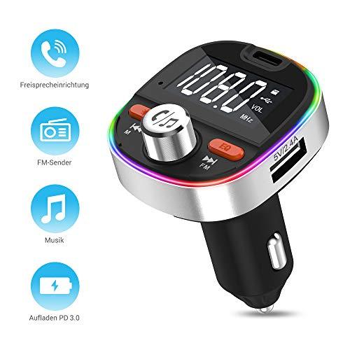 FM Transmitter MustWin Bluetooth 5.0 Adapter Auto PD 3.0 Radio Adapter mit 3 USB, Freisprecheinrichtung +7 Farbe LED +Bass +Speicherfunktion, Unterstützt 64G TF-Karte &USB-Stick, Siri Google Assistant