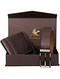 Hornbull Diwali Gift Set for Men's - Brown Wallet and Brown Belt Men's Combo Gift Set 4595