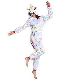 Rainbow Fox Unicornio pijama adultos Cosplay disfraz Animal Ropa de dormir Franela Novedad Víspera de Todos los Santos Navidad ropa