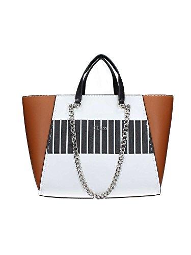 Guess Nikki chain shopping bag tote cognac multicolor