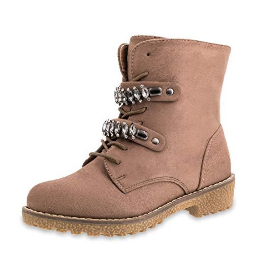 Damen Blogger Style Fashion Schnür Stiefeletten Worker Boots in Wildlederoptik mit Strass gefüttert Khaki 37 (Timberland Fake Boots Für Frauen)