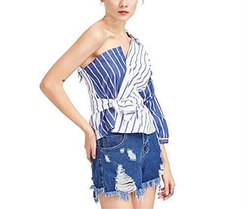 LSAltd Damen elegante gestreifte unregelmäßige Hemd Bogen dünne Taillen Oberseiten T-Shirts (Blau, S) (Mini-gestreifte Shorts)