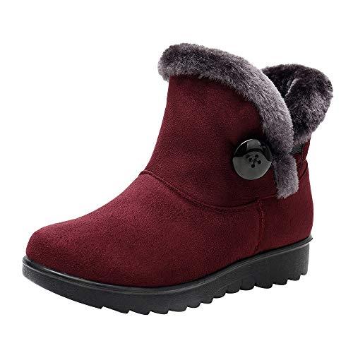 YWLINK Damen Klassisch Einfach Winter KnöChelhohe Schneestiefel Warme Taste Schuhe Warm Bequem Flache Schuhe Outdoor Schuhe PlüSchfutter Basis Schuhe(36.5 EU,B Weinrot)