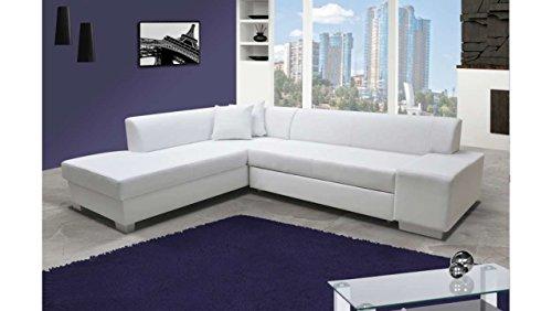 JUSTyou Porto Canapé d'angle Sofa canapé lit Cuir écologique (HxLxl): 73x278x216 cm Blanc Angle gauche