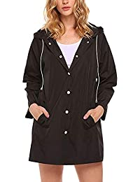 VJGOAL Mujer otoño e Invierno Moda Casual Ligero Impermeable con Capucha botón Impermeable Capa Activa Sudadera Exterior Chaqueta