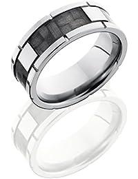 Titanium, Carbon Fiber Facet Inlay Wedding Band (sz H to Z1)