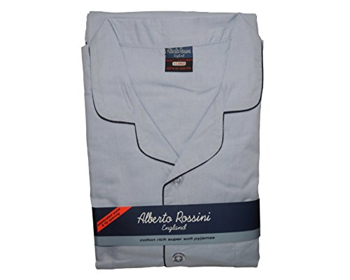Alberto Rossini Mens Nightwear Cotton Rich Long Sleeve Pyjama Suit With Trousers, Various Colours & Sizes