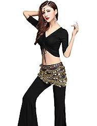 YiJee Danza Oriental Costume Set Danza del Vientre Tops Pantalones Con Cinturón