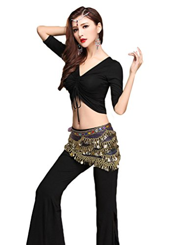YiJee Damen Tanzkleidung Bauchtanz -Kostüm-Set Tops & Split Wide-leg Pants Schwarz XL (Pants Dance Leg Wide)