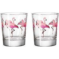 Tropical flamenco sandía vaso de cristal, ...