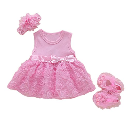 FairOnly Baby Girls Infant Lace Party Dress Gown with Headband and Shoes Set Pink Short-Sleeved Rose Dress + Shoes + Hair Band 3M: Recommended 0-3 Months