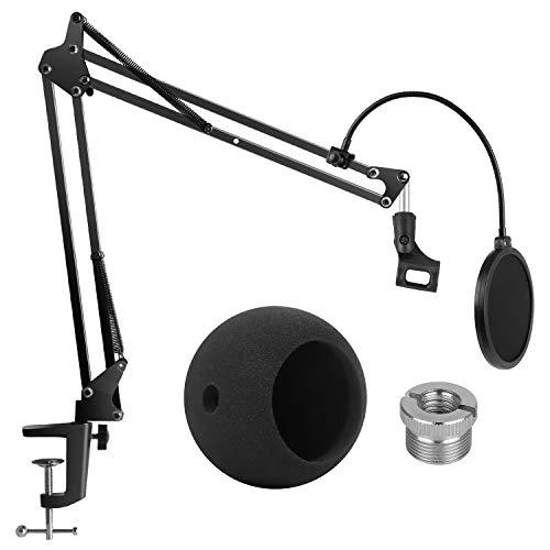 InnoGear Blue Snowball Mikrofon Ständer mit Mikrofon Pop Filter und Schaum Mikrofon Windschutz, Mikrofon Halterarm für Blue Snowball und Blue Snowball iCE -