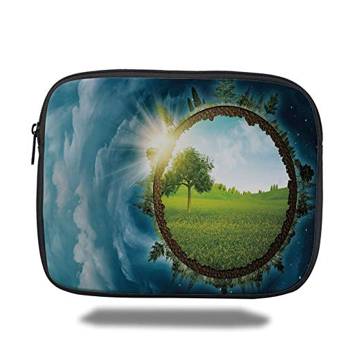 air 2/3/4/mini 9.7 inch,Earth,Circular Frame with Endless Green Landscape Infinity Clouds Space Decorative,Light Green Brown Petrol Blue ()