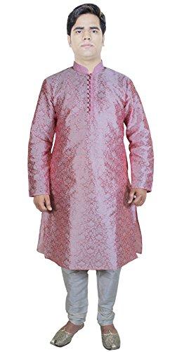 Vestito dai vestiti della Kurta pigiama pantaloni da uomo abito indiano per gli uomini Rosa Taglia L