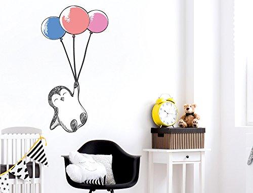 """I-love-Wandtattoo WAS-11293 Babyzimmer Tiere Wandsticker \""""Süßer Pinguin mit drei farbigen Luftballons\"""" Wandtattoo Tierkinder zum Kleben Wandaufkleber Mädchen Kinderzimmerwand Tierwelt Baby Kleinkind Sticker Mädchenzimmer Aufkleber Wanddekor Safari wilde Tierbabies Babydeko Zoo Spielzimmer"""