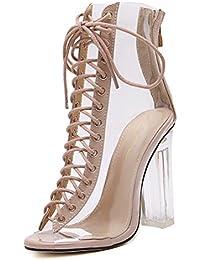 SHOWHOW Damen Modisch Peep Toe Schnürung Sandaletten mit Transparente Schaft Schwarz 35 EU gJOmFu