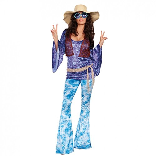 ie Kostüm, Gr. XL, Shirt Schlaghose Batik-Look Fasching 70er Jahre ()