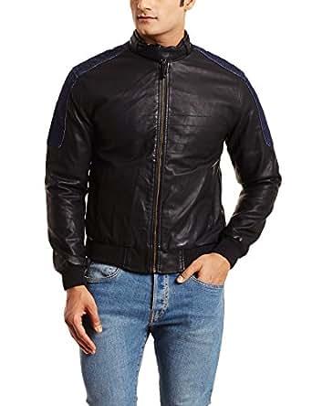 Wrangler Men's Leather Jacket (8907222696405_W15399A3201Z_Small_Black)