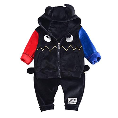 (Hawkimin Kleinkind Kinder Baby Mädchen Jungen Nähte Mobs Auge Kleine Mit Kapuze Reißverschluss Tops +Einfarbig Hose Set Outfits)
