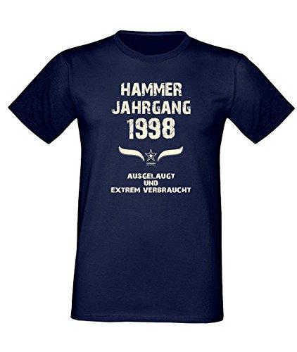 Geburtstags Fun T-Shirt Jubil?ums-Geschenk zum 19. Geburtstag Hammer Jahrgang 1998 in schwarz blau rot gr?n braun auch in ?bergr??en 3XL, 4XL, 5XL blau-01