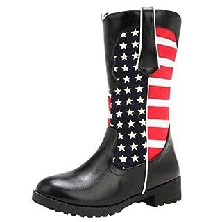 LSAltd Mode Frauen Vintage American Flag Print Niedrigen Absätzen Mittelrohr Stiefeletten Casual Bequeme Outdoor Stiefel Schuhe