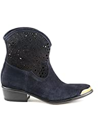 ce72bfc6448be Baldinini 3224 Blue Leather 1.5 High Heel Designer Women Boots