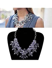 ELECTROPRIME Hot Acrylic Crystal Flower Pendant Statement Bib Necklace Wedding Party Jewelry