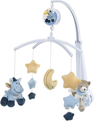 BIECO Baby Soft Musik Mobile Bärchen, Esel blau aus weichem Plüsch erfreut und beruhigt Blickfang am Kinderbett, Wickeltisch oder am Spielbogen. 37000912