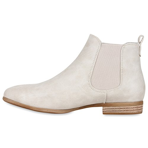 Klassische Damen Stiefeletten Chelsea Boots Lederoptik Schuhe Gr. 36-42 Hellgrau
