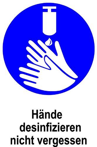 Gebotsschild aus Folie - Hände desinfizieren nicht vergessen - 30 x 45 cm