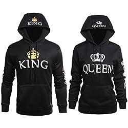 Stephaee Partner Pärchen King Queen Sweatshirt Pärchenpullover Hoodie Damen Herren Kapuzenpullover Schwarz 01 Herren L +Damen L