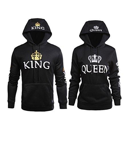 Stephaee Partner Pärchen King Queen Sweatshirt Pärchenpullover Hoodie Damen Herren Kapuzenpullover 2