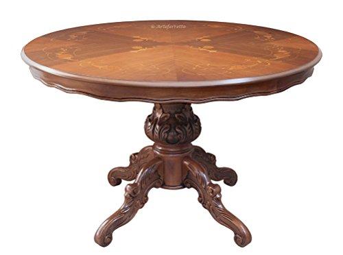 Artigiani veneti riuniti tavolo intarsiato rotondo diametro 120 cm