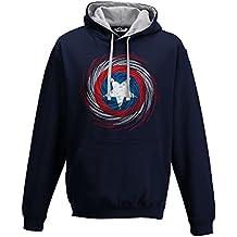 Sudadera capucha de Capitán América con logotipo de la película y los cómics, de hombre, New French Navy-Heather Grey