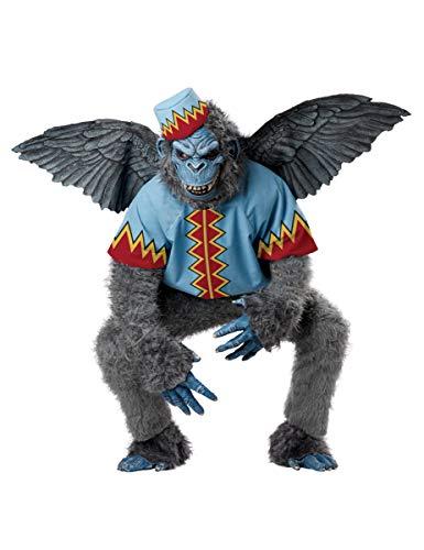 Kostüm Fliegende Affen - Generique - Fliegender AFFE-Kostüm für Erwachsene grau-blau-rot XL (44/46)