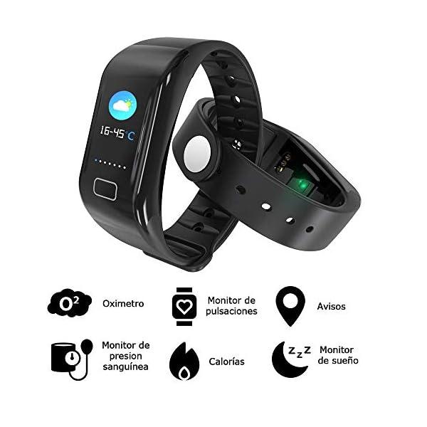 NK Pulsera de Actividad Inteligente Smartband-02, Frecuencia cardíaca, Monitor del sueño, Resistencia al Agua IP67, Podómetro, Color Negro 2