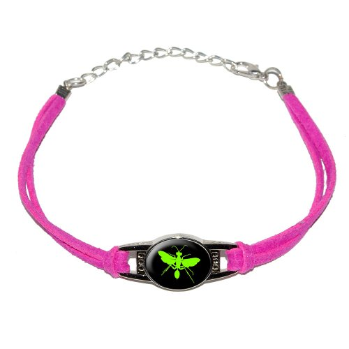 hornet-wasp-green-novelty-suede-leather-metal-bracelet-pink