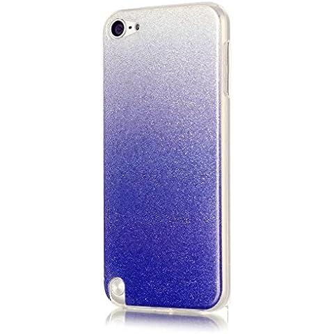 KSHOP Cáscara silicona TPU Bling Bling para ipod touch 6 /ipod touch 5 Funda caso cristal color brillo Hermosa reluciente Case Cover anti los golpes - Blaco y azul oscuro
