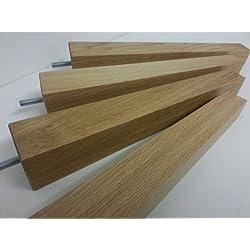 4x RAW madera de roble pies patas de muebles de repuesto 320mm Altura para sofás, sillas, taburetes M10(10mm)