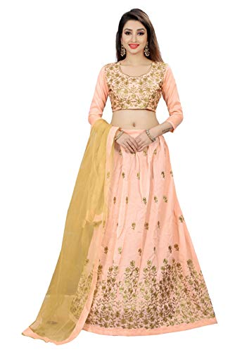 Purvaja Women\'s Benglori silk Lehenga Cholis(NR1-Peach-Golden)