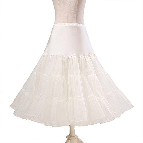 BOOLAVARD® 50er Jahre Petticoat Vintage Retro Reifrock Petticoat Unterrock für Wedding bridal Petticoat Rockabilly Kleid in mehreren Farben Elfenbein