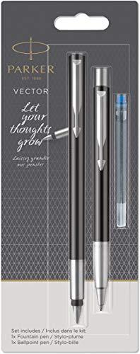 Parker Vector Füllfederhalter und Kugelschreiber, mittlere Größe, Schwarz