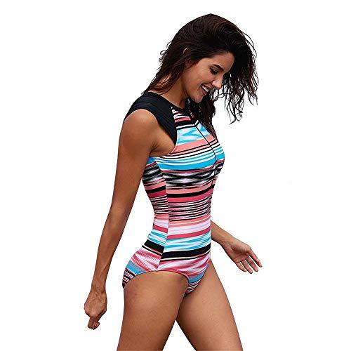 Qiminclo Damen Bademode Kostüm Frauen Einteiler Tropical Printed High Neck Bademode Ausgeschnitten Zip Up S-XXXL One Piece Schwimmen (Farbe : Mehrfarbig, Größe : XXL) (Schwimmen Kostüm Mit Den Seiten Ausgeschnitten)