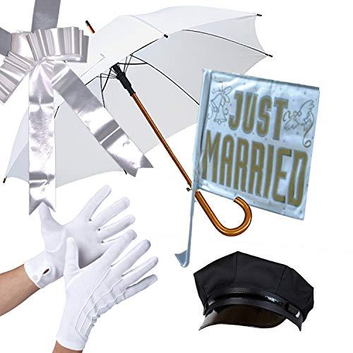 Chauffeur Set Hochzeitsfahrer 5-TLG. Schirm Chauffeur-Mütze Autoschleife Handschuhe Autofahne