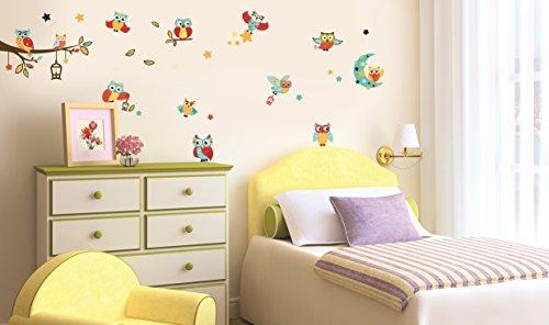 Sticker für Wand – Wandtatoos für Kinderzimmer, Wohnzimmer, Schlafzimmer, Babyzimmer - Wanddeko Modern – 2x 70X25cm Wandsticker Deko Set Folien Eulen